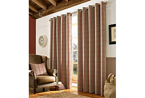 Archie Ready Made Curtains Red SlateGrey BlueDenim Red - Ready made curtains red