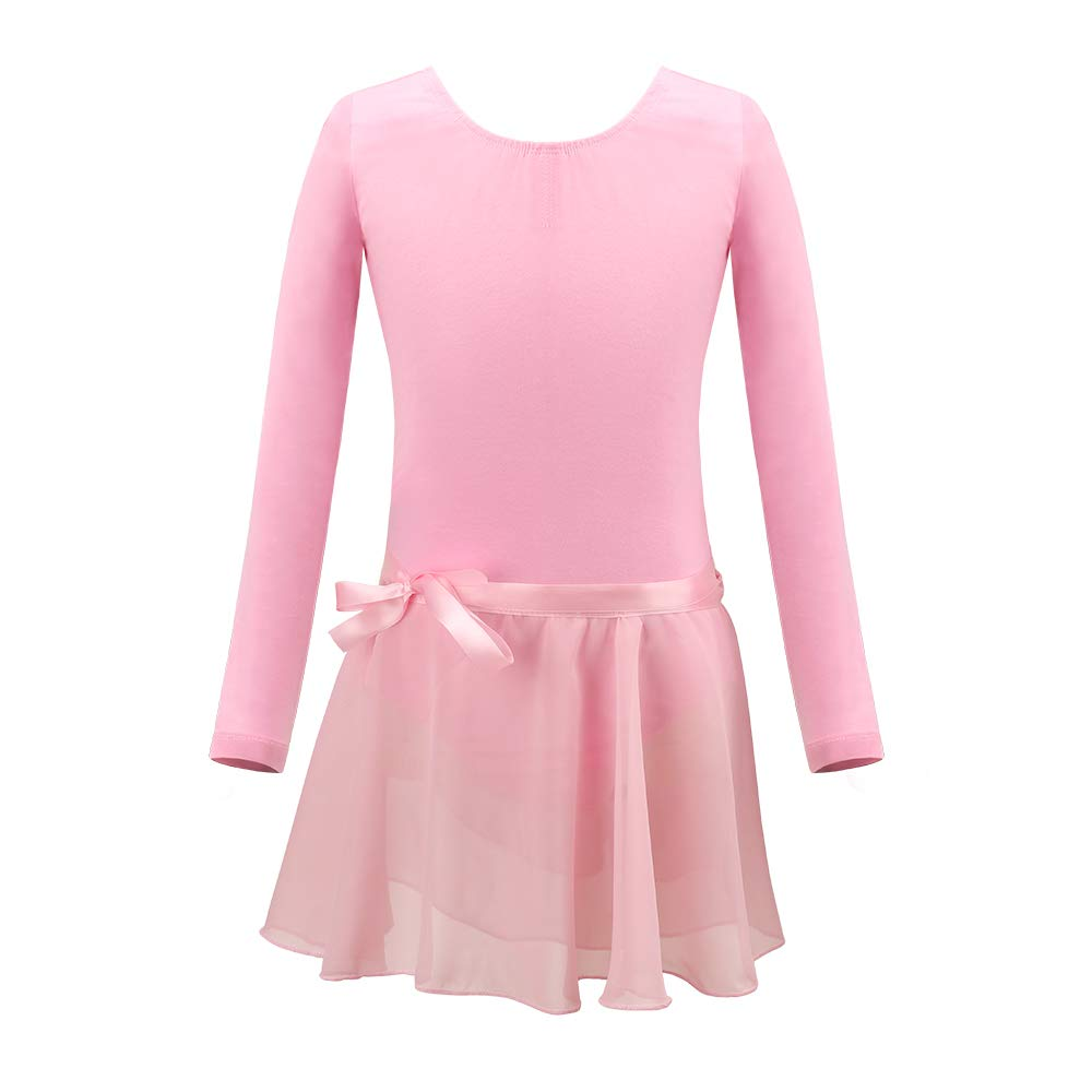 BARWA Ballet Leotards for Girls Cotton Long Sleeve Skirted Leotard Toddler Ballet Outfits Dance Tutu Dresses with Button