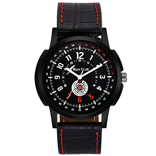 Rich Club RC 1099 Fashion~Parker Leather Analog Watch   for Men  amp; Boys
