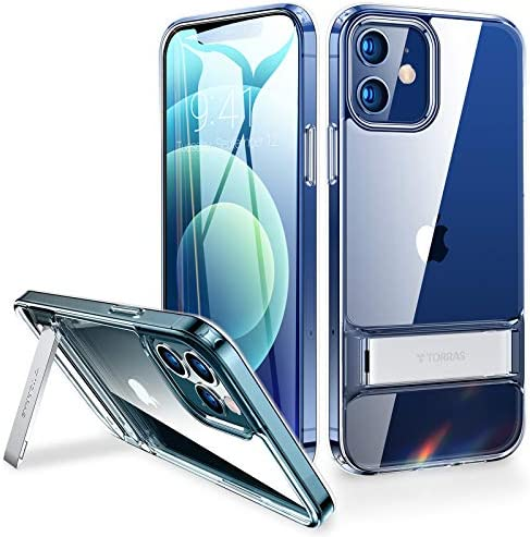 TORRAS MoonClimber Compatible for iPhone 12 Case/Compatible for iPhone 12 Pro Case [Armor-Level Protection] with Adjustable Kickstand Slim Shockproof Transparent Phone Case 6.1 inch, Clear