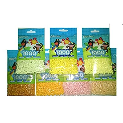 Perler Bead Bag, 7 Pack Group (Yellow, Pastel Ylw, Cheddar Creme, Butterscotch, Sand, Peach): Toys & Games