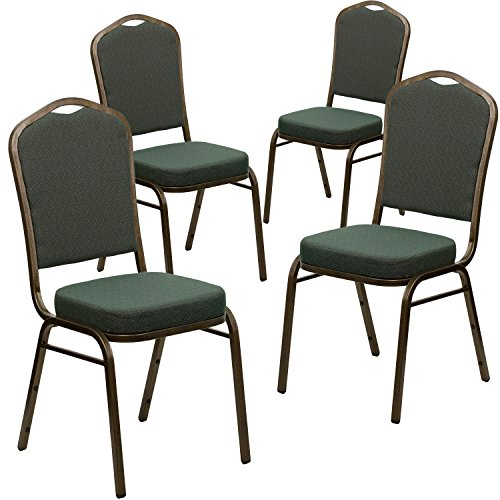 Flash Furniture 4 Pk. HERCULES Series Crown Back Stacking Banquet Chair in Green Patterned Fabric - Gold Vein Frame ()