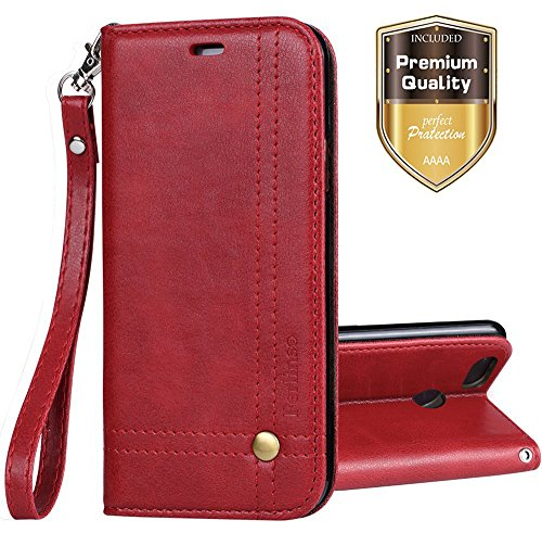 Google Pixel 2 XL Case, Ferlinso Elegant Retro Leather with ID Credit Card Slot Holder Flip Cover Stand Magnetic Closure Case for Google Pixel 2 XL-Red (Retro Id Credit Card)