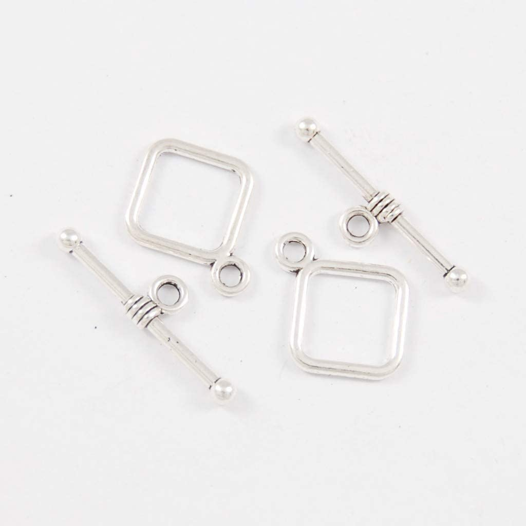 Fenteer 20pcs Fermoir Bracelet en M/étal Argent Tib/étains Embout dExtenseurs pour D/écoration de Bijoux Artisanat DIY