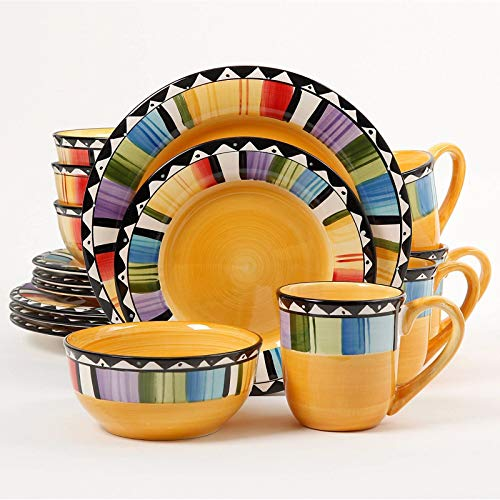 GHP Set of 16 Multicolored Stoneware Hand-Painted Kitchen Di