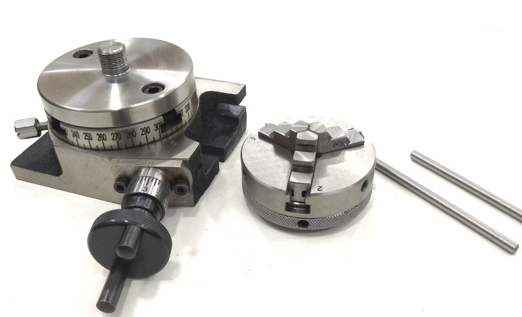 3'' Inches/80 mm Rotary Table & 65 mm 3 Jaws Self Centering Chuck+ steel Back Plate+ 3x M6 T-nuts Bolts-Metalworking, Engineering Indexing Milling Kit by Global Tools (Image #5)