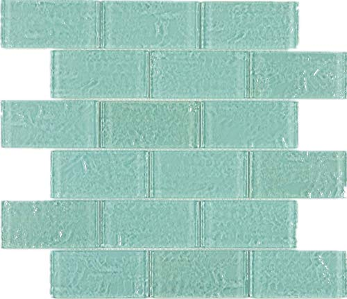 THEG-16 Green 2x4 Subway Tile Glass Mosaic Backsplash Wall Tile