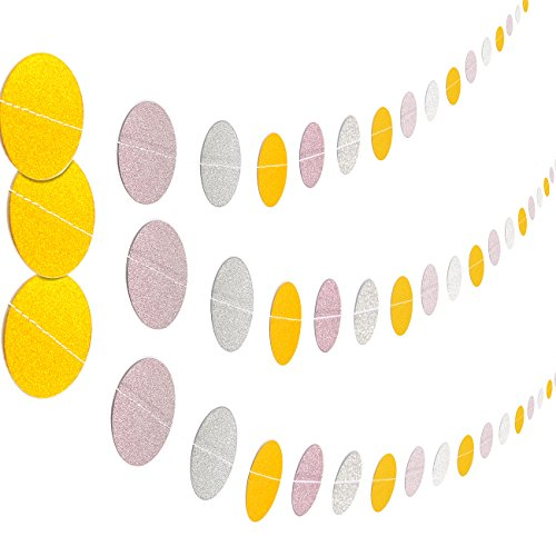 Gold Fancy Circle Drop - Hanging Banner Garland Decorations - 3-Pack Glitter Circle Paper Party Decor for Photo-Booth Backdrop, Wedding, Baby Showers, Gold, Pink, Silver Polka Dots - 10 Feet
