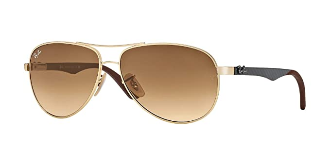 bfa94ac3a7a Image Unavailable. Image not available for. Colour  Ray Ban Sunglasses RB  8313 RB8313 001 51 Carbon Fibre Gold - Brown Gradient brown
