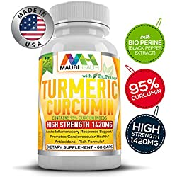 Turmeric Curcumin Herbal Dietary Supplement - Antioxidant Anti Inflammatory Pain Relief Memory Booster Bioperine For Quick Absorption High Strength 1420mg 95% Curcuminoids 60 Veg Caps