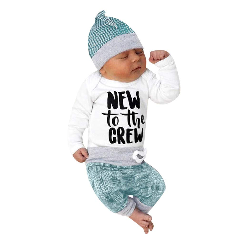 Baby Funny Onesies Bodysuit Romper + Pants + Hat 3PCs Cute Outfits Clothes -New to The Crew TiTCool