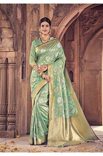 3 Facioun Party Donne Tradizionale 3 Le Da Indian Da For Verde Nozze Green Designer Women Di Facioun Wedding Partito Indiani Indossare Sarees Traditional Wear Sari Progettista Sari Per Sari qfnFTS7n0