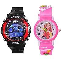 Capture Fashion™ Kids Digital Seven Light Red Analog Digital Barbie Pink Girl's & Boys Watch Combo