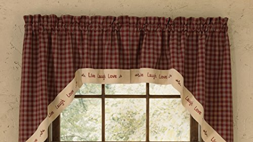 Window Swags Treatments (Park Designs Live Laugh Love Lined Swag, 72 Inch X 36 Inch)