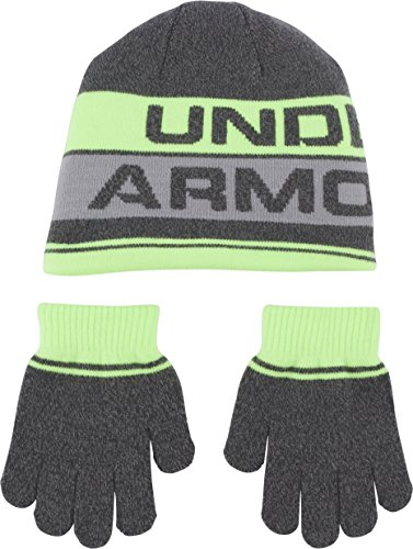 Under Armour Boys' Little Knit Beanie and Glove Combo, quirky lime, 4-7 (M)