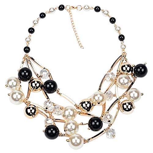 Alloy inlaid Simulated Pearl Necklace Cluster Choker Beads Chain For ()