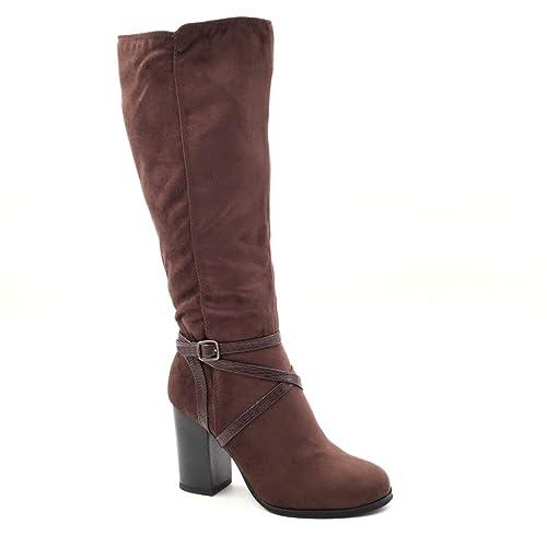 bajo precio c10cd 89570 Angkorly - Zapatillas de Moda Botas Botas Altas Flexible Mujer Piel de  Serpiente Tanga Hebilla Talón Tacón Ancho Alto 8.5 CM - Plantilla Forrada  de ...