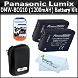 2 Pack Battery Kit For Panasonic Lumix DMC-ZS7, DMC-ZS10, DMC-ZS8, DMC-ZS9, DMC-3D1 DMC-ZS20, DMC-ZS15, DMC-ZS25, DMC-ZS25K Digital Camera Includes 2 Extended Replacement Panasonic DMW-BCG10 (1200mAH) Lithium-Ion Batterries + Case + LCD Screen Protectors