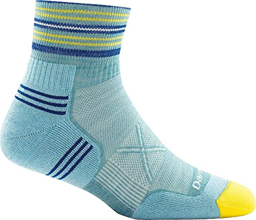 Ultralight Womens Socks - Darn Tough Vertex 1/4 Ultra-Light Cushion Sock - Women's Light Blue Medium