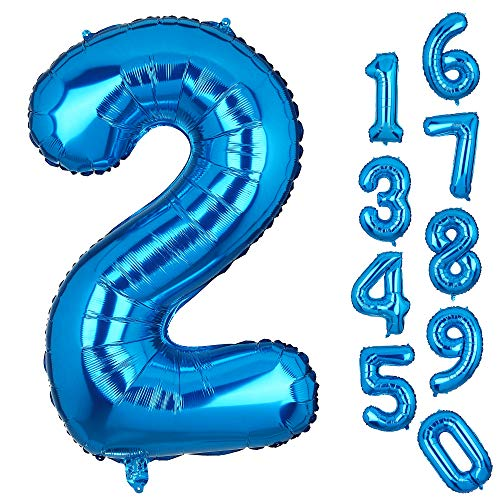 Big Number 2 Balloons Blue Mylar Foil Helium Balloons Large Birthday Party Decorations for Anniversary 2nd Birthday Party -