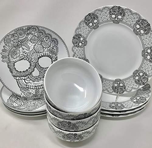 12-Piece 222 Fifth Halloween Lace Skull Fine Porcelain Dinne