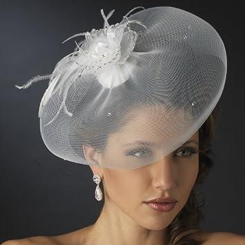 Amazon.com   Chic Visor Bridal Cocktail Hat Comb   Wedding Veil ... 4ce8397b2a6