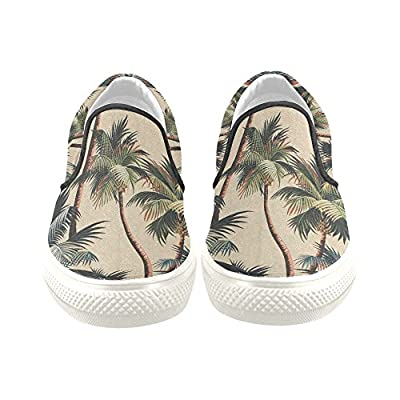 D-Story Retro Palm Tree Men's Slip-on Canvas Shoes Fashion Sneaker