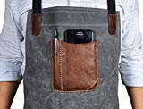 One Size Fits Utility Apron | Adjustable Cross-Back Straps | Multi-Use Shop Apron With Tool Pockets By Aaron Leather