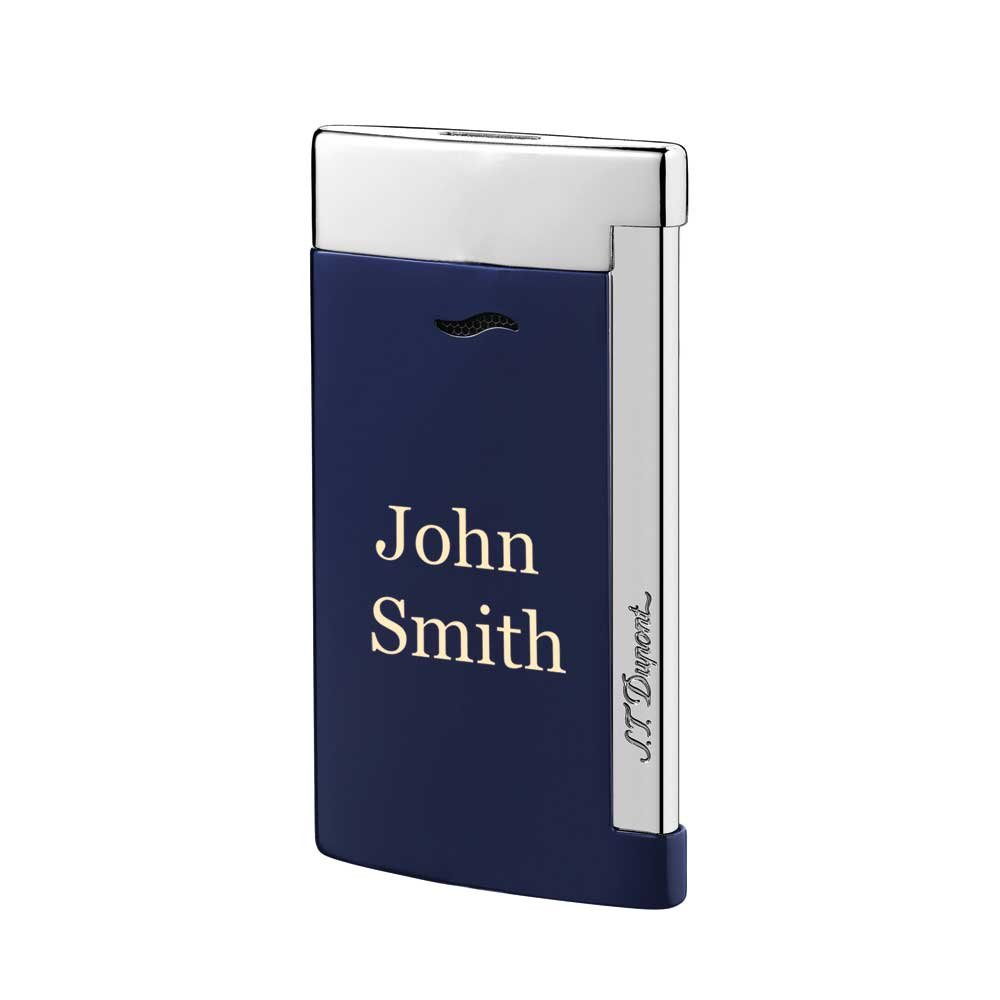 Personalized ST Dupont Slim 7 Single Torch Flame Lighter with Printing - Blue and Chrome with Free Laser Engraving