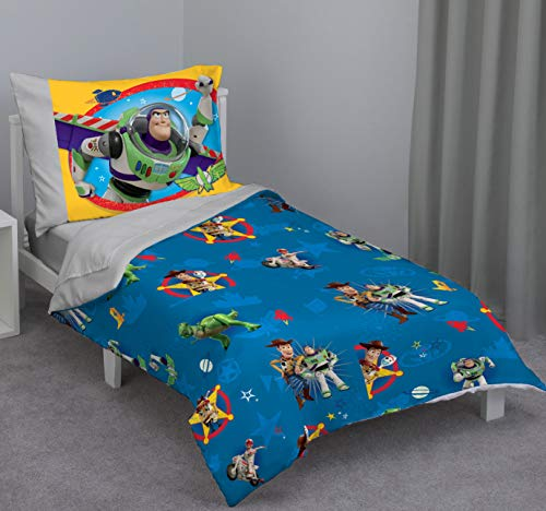 (Disney Toy Story - Play Time - Blue, Yellow, Green, Red, Gray 4Piece Toddler Bed Set with Comforter, Flat Top Sheet, Fitted Bottom Sheet, Standard Size Pillowcase, Blue, Green, Red,)