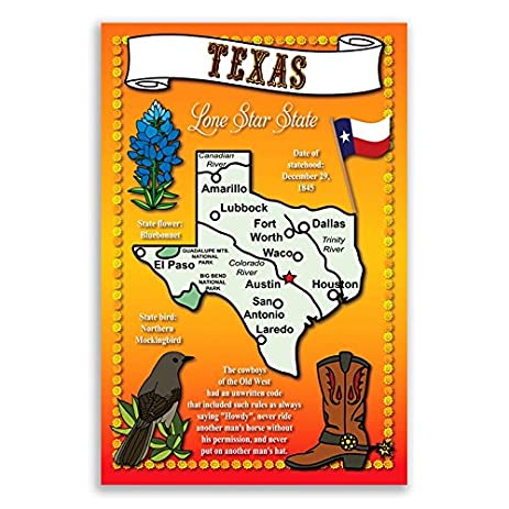 Amazoncom TEXAS STATE MAP Postcard Set Of Identical - Texas map of usa