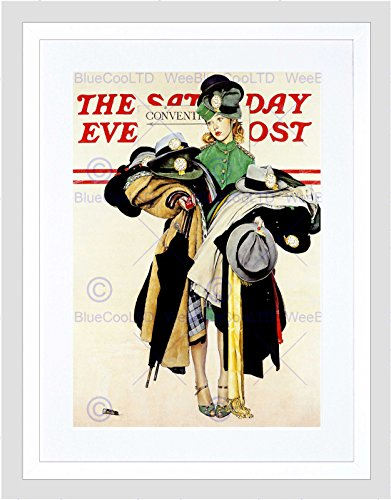 paper Cover Saturday Evening Post Coat HAT Girl Framed Print B12X3184 ()