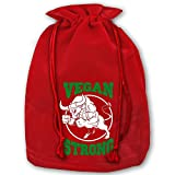 Vegan Strong Fist Weightlifting Workout Plant Diet Christmas Gold Velvet Drawstring Elastic Gift Bags 35'' X 45''