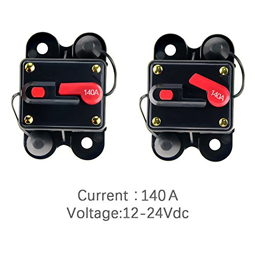 12V-24V DC Circuit Breaker Trolling Motor Auto Car Marine Boat Bike Stereo Audio Inline Fuse Inverter Waterproof with Manual Reset 140A 140Amp by Soyond (Image #3)