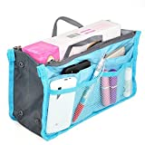 American Trends Portable Expandable Organizer Purse Insert Handbag Bag in Bag Light Blue