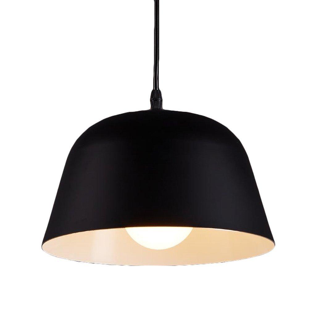 Nordic Café Aluminum Craft Chandelier Single Head, E27 Specification Lampholder Restaurant Aisle Table Lamp 25 17cm Suspension Line 200cm Adjustable (Color : Black)