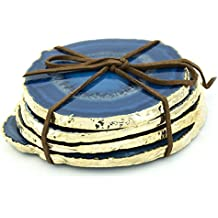Agate Slice Drink Coasters 4-Pack (Blue & Gold)