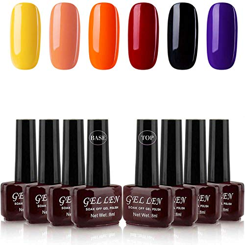 Halloween Black And Orange Nails (Gellen Gel Nail Polish Kit - Halloween Holiday 6 Color With Top Coat Base Coat, Vibrant Bright Nail Gel Colors Home Gel Manicure)