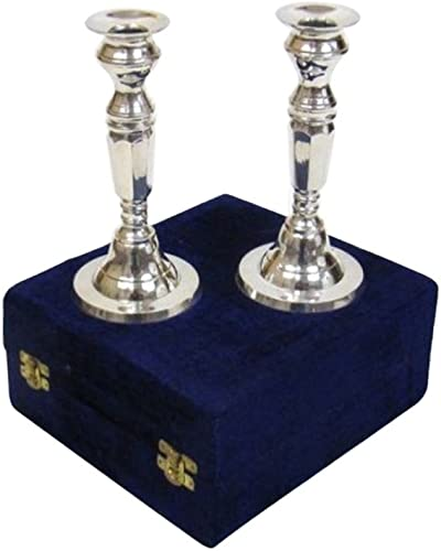 Nautical Decor Silver Plated Brass Candle Stick Holder Pair
