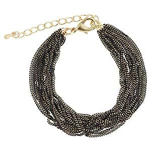 Joe Cool Women's Copper and Iron Multi Strand Bracelet, Gold and Black