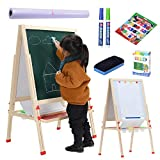 Kids Wooden Standing Art Easel, Height Adjustable Magnetic Chalk Board & Dry Erase Board, Paper Roll, Accessories, Perfect Education & Craft Supplies for Kids and Toddlers (54 Inch)