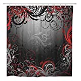 Red and Gray Shower Curtain ArtSocket Shower Curtain Gray Abstract Black Red and Gold Floral Pattern Swirl Home Bathroom Decor Polyester Fabric Waterproof 72 x 72 Inches Set with Hooks