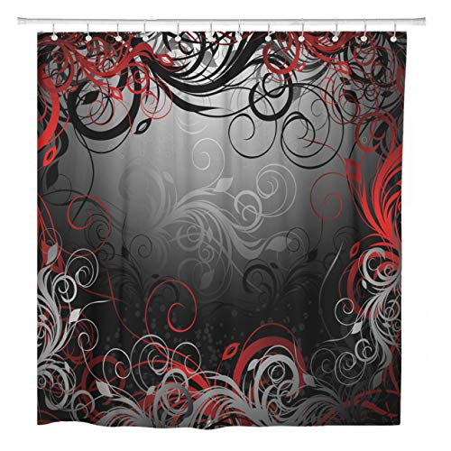 (ArtSocket Shower Curtain Gray Abstract Black Red and Gold Floral Pattern Swirl Home Bathroom Decor Polyester Fabric Waterproof 60 x 72 Inches Set with Hooks)