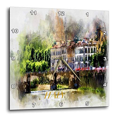 3dRose Lens Art by Florene - Watercolor Art - Image of Painting of Beautiful Italian Villa with Word Italy - 13x13 Wall Clock (DPP_306886_2)
