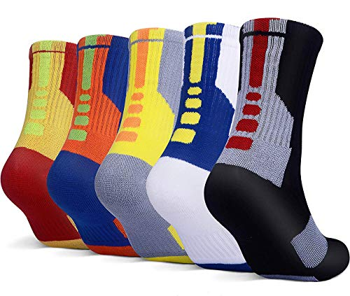 YWLSTM 5 Pairs Mens Athletic Crew Socks Basketball Cushioned Dri-Fit Sport Long Compression Socks,6.5-11.5 – DiZiSports Store