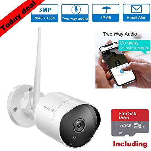 with 64GB SD Card Outdoor Security Camera HD 2K 3MP Bullet Camera 2.4G IP66 Waterproof 50ft Night Vision Home Surveillance IP Camera Two-Way Audio Set of 2 Motion Detection Alarm//Recording