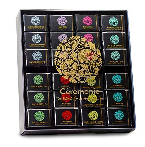 Large Selection Box - Party Tray, Ceremonie Tea. Premium Gourmet Tea GIFT BOX Variety SAMPLER & WOOD TRAY Display. 48 Individually Wrapped Silky Mesh Bags of Herbal Teas and Tea Blends. Great Gift for a WEDDING or Party