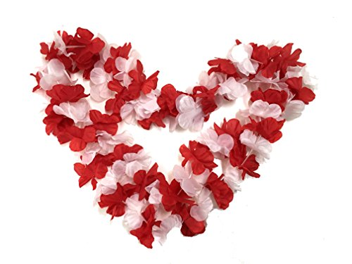 BOSHENG Red&White Flower Leis Necklaces for Summer Party Event,Set of 12