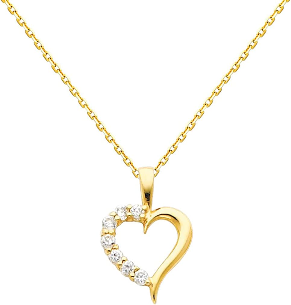 The World Jewelry Center 14k Yellow Gold Journey Heart CZ Pendant with 0.9mm Cable Chain Necklace 51yzFfxe9CLUL1010_