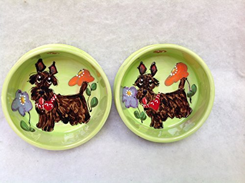 Scottish Terrier 8'' and 6'' Pet Bowls for Food and Water. Personalized at no Charge. Signed by Artist, Debby Carman. by Faux Paw Productions, Inc., Laguna Beach, CA